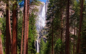 Wallpaper USA, stones, Yosemite National Park, rocks, the sun, Yosemite, forest, CA, trees, waterfall