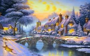Picture winter, the sky, snow, bridge, river, street, home, the evening, Alexander Kalinin