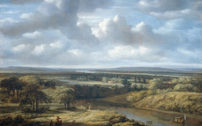 Wallpaper River Landscape, canvas, oil, Philips Koninck, picture