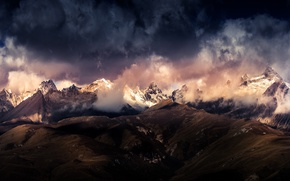 Picture the sky, clouds, mountains, The Himalayas