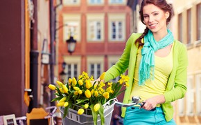 Picture flowers, bike, smile, basket, home, makeup, scarf, Mike, hairstyle, tulips, brown hair, blouse, beauty, yellow, …