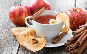 Picture tea, apples, Drink, Cinnamon