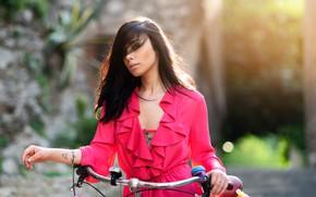 Picture the sun, flowers, bike, model, portrait, makeup, dress, hairstyle, brown hair, beauty, bokeh, Jessica, Nicholas …