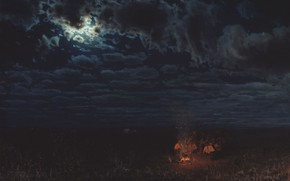 Picture clouds, fire, oil, moonlight, Canvas, the fire, Nikolai SERGEYEV, Night in the desert