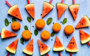 Picture berries, Watermelon, citrus, tangerines