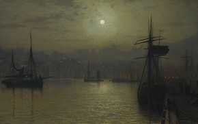 Wallpaper harbour, Old Scarborough. Full Moon. Tide, John Atkinson Grimshaw, John Atkinson Grimshaw, ship, picture