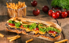 Picture Hamburger, tomatoes, potatoes, free