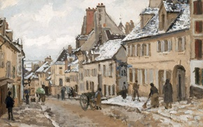 Picture street, home, picture, the urban landscape, Camille Pissarro, PONTOISE. The road to Gisors in Winter