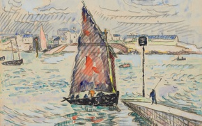 Picture boat, figure, watercolor, sail, Paul Signac, Port Louis