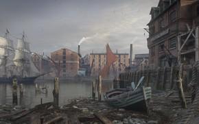 Wallpaper boat, Dmitry Kremiansky, Thames depthneeded, building, the city, sailboat, harbour