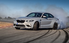 Picture smoke, coupe, track, turn, BMW, rubber, 2018, F87, M2, M2 Competition
