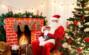 Picture decoration, lights, holiday, hat, toys, boots, candles, glasses, Christmas, Cup, New year, wood, coat, socks, ...