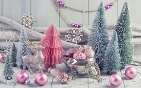 Picture decoration, balls, tree, New Year, Christmas, gifts, happy, Christmas, vintage, New Year, Merry Christmas, Xmas, …