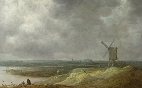 Picture landscape, picture, Jan van Goyen, Jan van Goyen, Windmill by the River