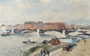 Picture bridge, river, home, picture, the urban landscape, Gustave Loiseau, Gustave Loiseau, The Docks. The Bridge …