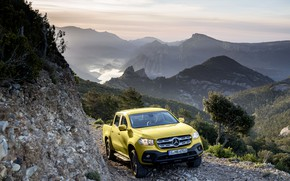 Picture landscape, mountains, stones, yellow, open, vegetation, Mercedes-Benz, valley, pickup, breed, 2017, X-Class