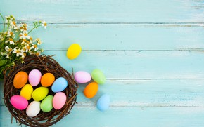 Picture flowers, flowers, spring, eggs, Happy, tender, Easter, pink, eggs, Easter, wood, colorful, decoration, basket, spring