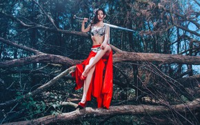 Picture pose, style, tree, feet, model, sword, Asian