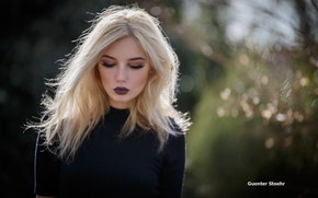 Picture girl, the sun, glare, model, portrait, makeup, hairstyle, blonde, jacket, bokeh, Guenter Stoehr
