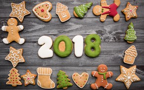 Picture Christmas, food, wooden, 2018, New Year, holiday, sweets, cookies