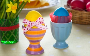 Wallpaper eggs, Easter, daffodils