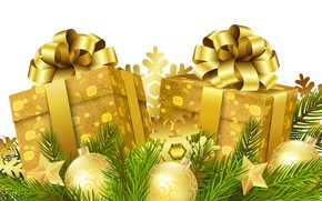 Picture balls, new year, Christmas, gifts, yellow