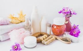 Picture flowers, Spa, massager, sea salt