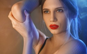 Picture look, face, portrait, hands, lipstick, sponge, Alexander Drobkov-Dark, Zoya Kuznetsova