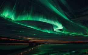 Picture the sky, bridge, Northern lights, Northern Lights, Aenami, Alena Aenam The, Alyona Velichko, Alena Velichko