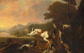 Picture animals, landscape, oil, picture, Deer hunting, Danielson Abraham Hondius