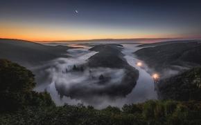 Picture night, fog, river, the moon, Germany, Saar, Saarschleife