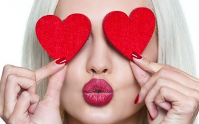 Picture girl, kiss, hands, makeup, lipstick, hairstyle, blonde, hearts, red, white background, fingers, sponge, Valentine's day
