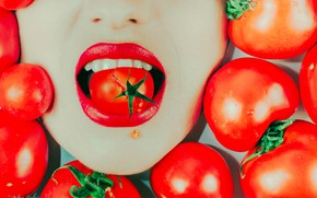 Wallpaper mouth, tomatoes, lipstick, girl, tomatoes