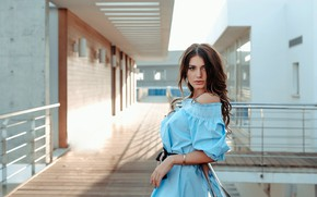 Picture look, the sun, pose, the building, portrait, makeup, dress, hairstyle, railings, brown hair, beauty, blue, …