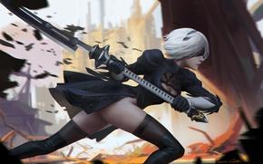 Picture girl, weapons, stockings, anime, art, nier, yorha unit no. 2 type b, nier: automata, ichao …