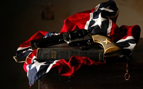Picture Revolver, Bible, Confederate Flag