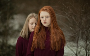 Picture look, girls, redhead, sisters