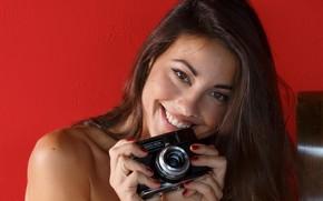 Picture smile, model, brunette, the camera, Lorena Garcia, Lorena Morena, Lorena Graham, Lorena b