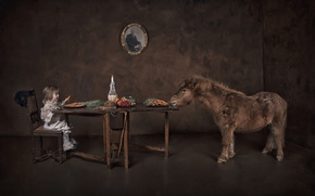Picture table, food, girl, pony