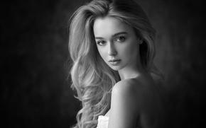 Picture look, girl, portrait, photographer, Anna, Dennis Drozhzhin, black and white photo