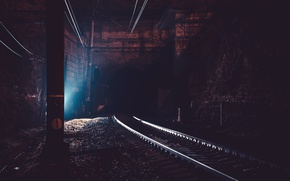 Picture road, night, the city, the tunnel, railroad, Crimea, Russia, entrance, cat, Sevastopol