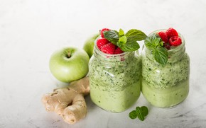Picture raspberry, apples, drink, mint, ginger, smoothies
