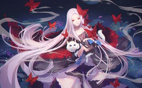 Picture cat, cat, girl, hair, anime, Forever 7th Capital