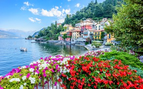 Picture flowers, lake, building, home, yacht, Italy, promenade, Italy, Lombardy, Lombardy, Lake Como, Varenna, Varenna, Lake …