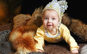 Picture look, joy, smile, baby, fur, blouse, baby