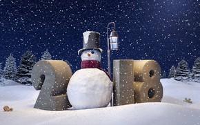 Wallpaper snowman, New Year, snow, snow, Happy New Year, winter, 2018, snowflakes, snowman, decoration, winter