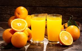 Picture oranges, juice, glasses, fruit, orange, citrus