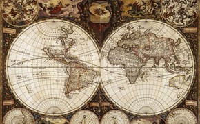 Picture travel, world map, geography, 1665 the year, Frederick de wit