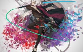 Picture look, girl, sword, anime, art, glasses