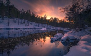 Picture snow, river, Norway, Norway, Ringerike